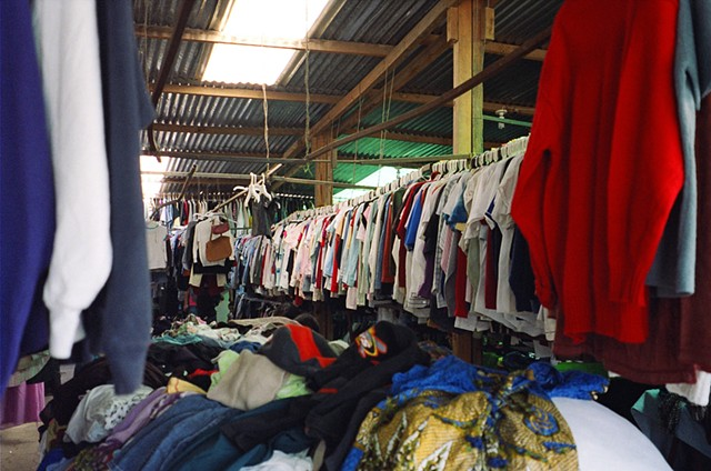A secondhand clothing market stall in Antigua, selling U.S. surplus secondhand goods.
