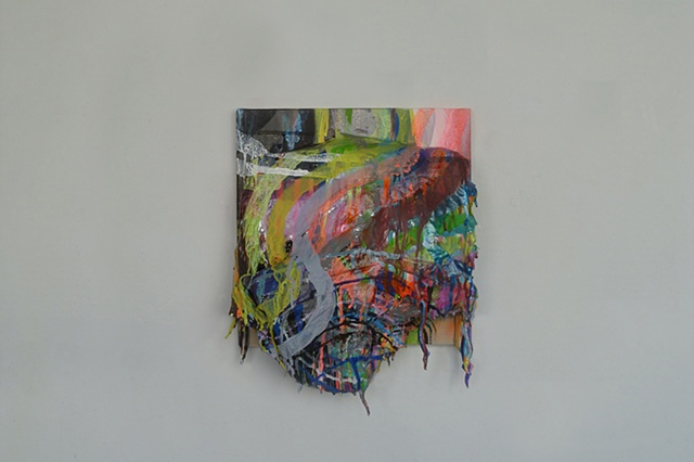 Five-inch thick slab of acrylic and spray paint with drips and multi-colored stripes which cause the dimentionality of the slab to flatten out.