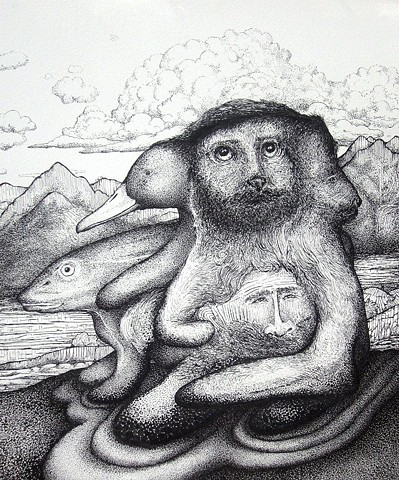 duck, cat, gopher, fish bearded man with mountains