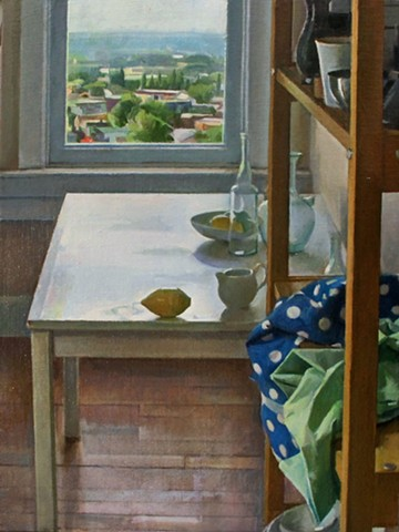 Studio Table and Shelves with Distant Landscape