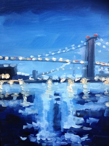 urban landscapes, east river, brooklyn painting, new york, Williamsburg Bridge
