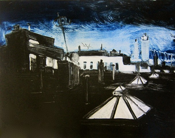monotype, urban landscape, New York, Brooklyn, queens, New york city, art