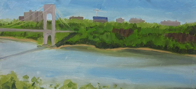 George Washington Bridge, hudson river, new york paintings