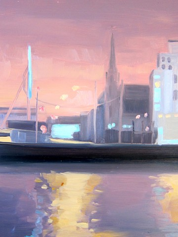 urban landscapes, newtown creek, brooklyn painting