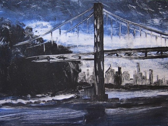 landscape, nyc, urban landscape, monotype, Hudson River, George Washington Bridge, plein air