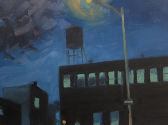 Urban landscape, Brooklyn, New York, painting
