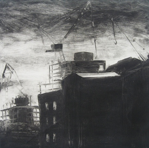 Monotype, urban landscape, Brooklyn, New York