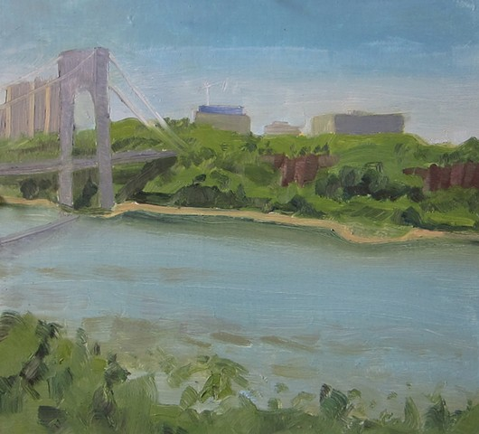 urban landscapes, George washington bridge, hudson river, painting