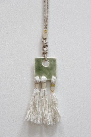 square ceramic pendant necklace with fiber tassels (detail)