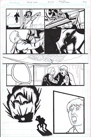 "MCU's ""Spider-Man"" saving civilians. Page 2 of 3 Black and White"