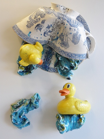 Large Willow ware ceramic tea cup with rubber ducks, artwork by Linda S Fitz Gibbon