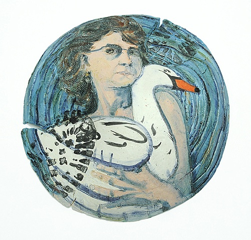 ceramic plate self portrait with inflatable swan by Linda S Fitz Gibbon