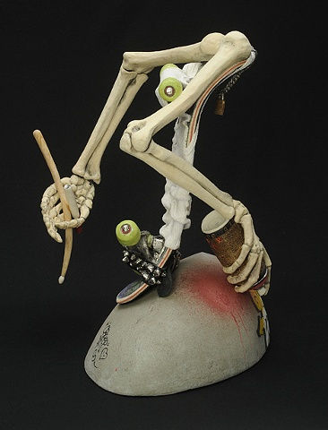 Ceramic portrait of Jack Fitz Gibbon, skateboarder and graffiti artist by Linda S Fitz Gibbon