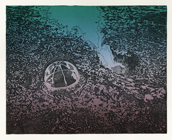 Picture of Brigitte Caramanna, intaglio printmaking of mars, space, landscape, mountain, nature by brigitte caramanna, picture of brigitte caramanna, cli-fi, climate fiction, climate change, brigitte caramanna, waterfall, oil rig, satellites, caves, jelly