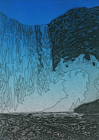 brigitte caramanna, waterfall, water, art, landscape, space, top roll, colorful, science, iceland, scifi, blue, etching