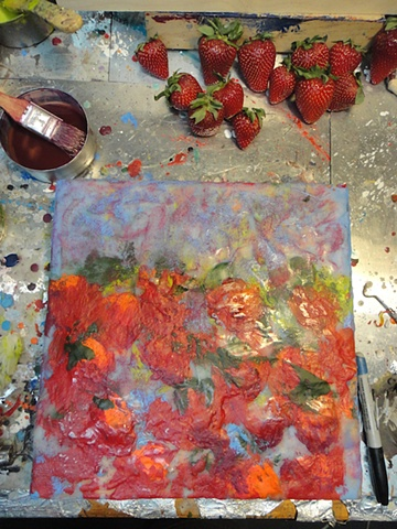Strawberries in process