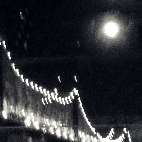 Photograph of Moon, Queensborough Bridge, Night, Black and White,  by Judith Ebenstein