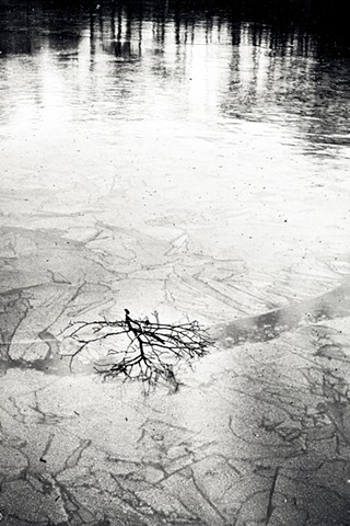 Photograph of Ice Pond, Halsey Pond, Irvington, NY, winter, by Judith Ebenstein