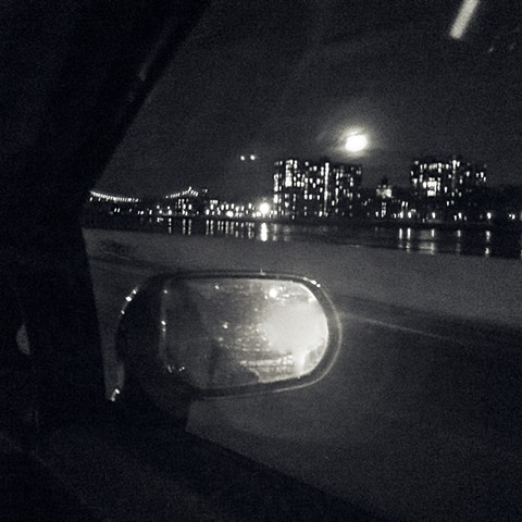 Photograph of Moon, East River, Car Mirror, Black and White, New York City, Manhattan, by Judith Ebenstein
