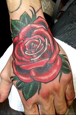Animal Farm Tattoos Chicago Tatuajes Rose on Hand