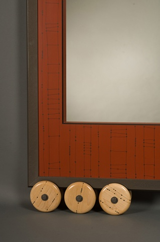 Detail, Large Red Wheeled Wall Mirror