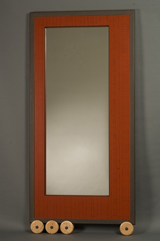 Large Red Wheeled Wall Mirror