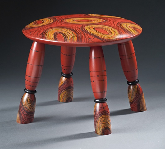Red Scribble Stool