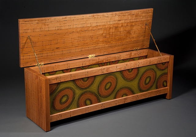 Open, Green Scribble Blanket Chest