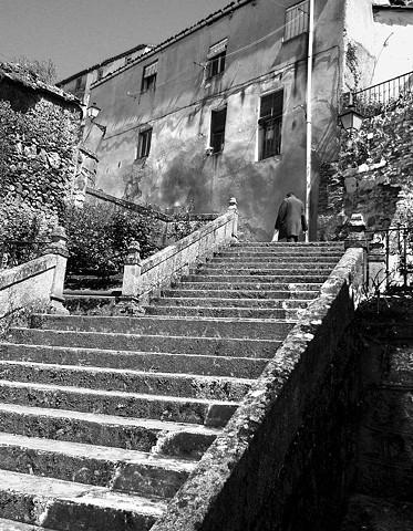 """Almost There"" A man climbing the steps towards the Parador in Monforte de Lemos"