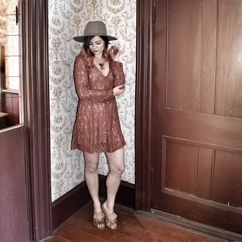 Fall '17 - lovestitch dress, vegan slides, brixton fedora