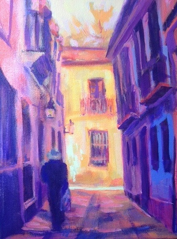 Impressionistic Landscape Painting,Street Scene,exotic,intimate, Coroba,Old Jewish Quater, Spain,Acrylic on canvas