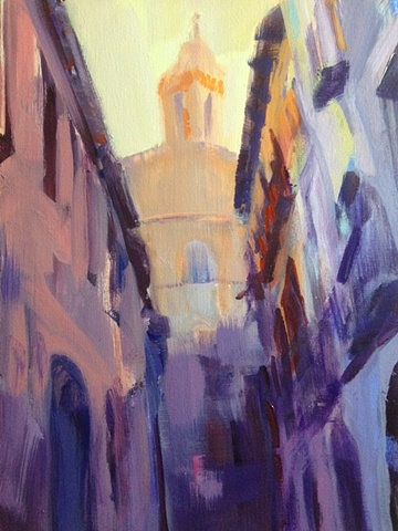 Impressionistic Landscape Painting,Street Scene,Cathedral,Tudela,Navarra,Spain,Acrylic on canvas