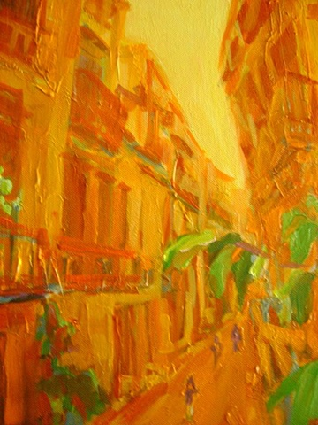 Painting onn canvas, Bari Gotic, 2010, Impressionism, Landscape, street scene, perspective, bird's eye view