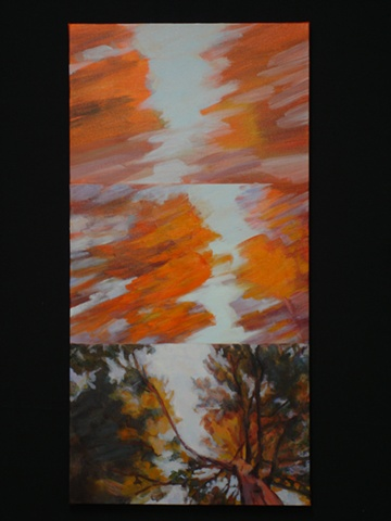 Juxtaposing, multiples, panoramic landscape, impressionistic-style, oil painting