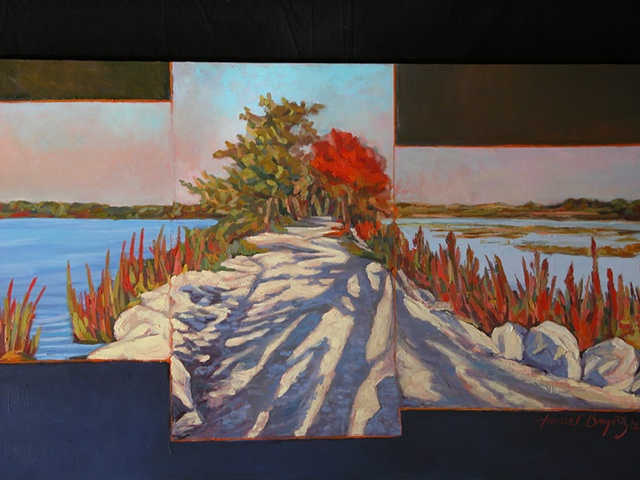 Juxtaposing, panoramic landscape, impressionistic-style, oil painting