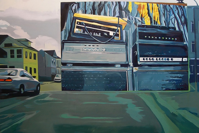 Carl Auge painting, Carl Auge Artwork,  conceptual realist oil painting, contemporary landscape painting, hardcore, punk Conceptual realist oil painting, Oakland CA, Ampeg bass and guitar amplifiers, Punk artwork, Hardcore punk