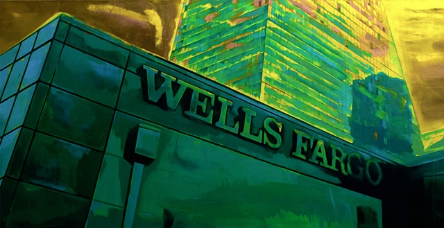 Conceptual realist oil painting of Wells Fargo Building. Contemporary landscape painting.