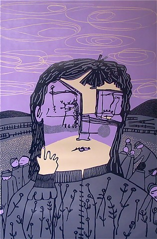 """Under The Sky"" reductive linoleum print by Coco Berkman"