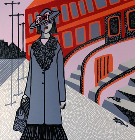 """Brooklyn"" reductive linoleum print by Coco Berkman"