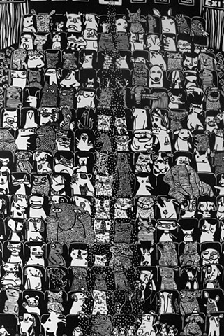 Black and White Linoleum Print depicting animals sitting in a movie theater