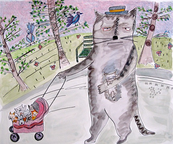 Cat Daddy Watercolor Drawing
