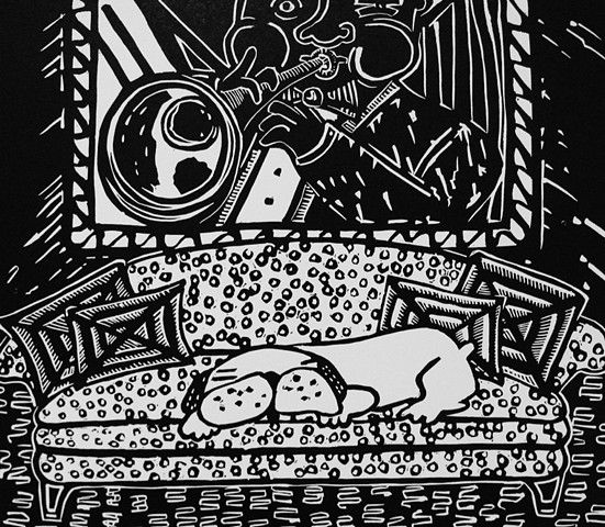 """Satchmo"" linocut by Coco Berkman from ""Dogs on Sofas"" series"