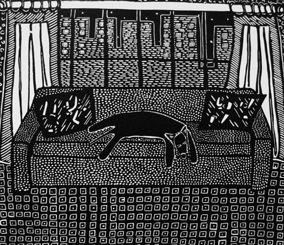 """Riverside Drive"" linoleum print by Coco Berkman from ""Dogs on Sofas"" series"