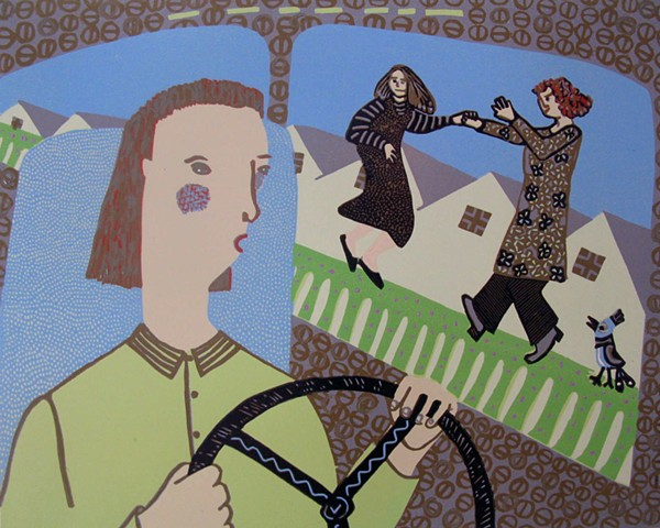 Mothers on the Bridge reductive linoleum print by Coco Berkman