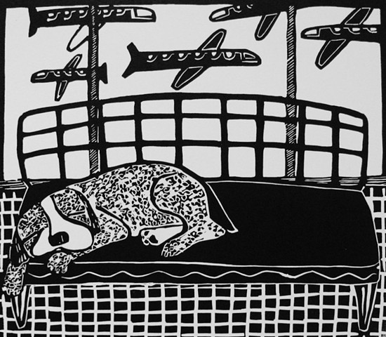 """Lounge"" linocut by Coco Berkman from ""Dogs on Sofas"" series"