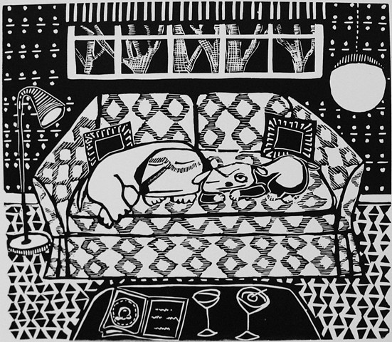 """Martinis"" linocut by Coco Berkman from ""Dogs on Sofas"" series"