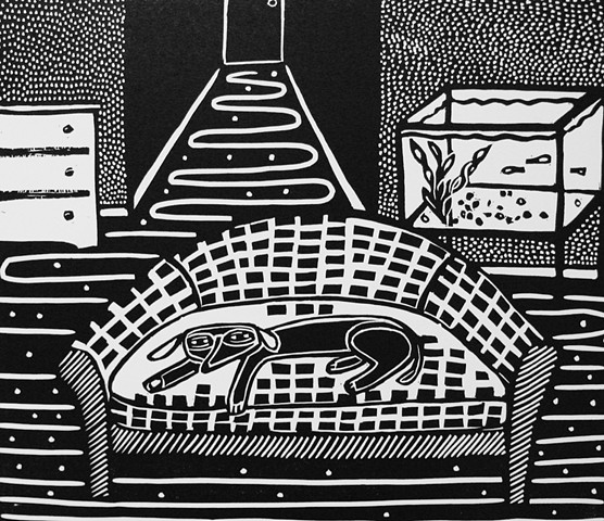 """Guppies"" linocut by Coco Berkman from ""Dogs on Sofas"" series"