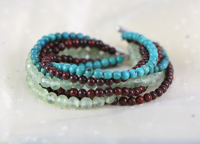 eight strand bracelet with turquoise, jasper, flourite