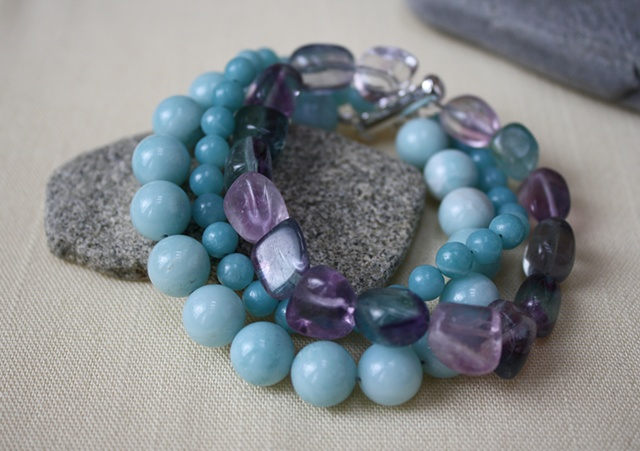 3-strand amazonite and flourite bracelet