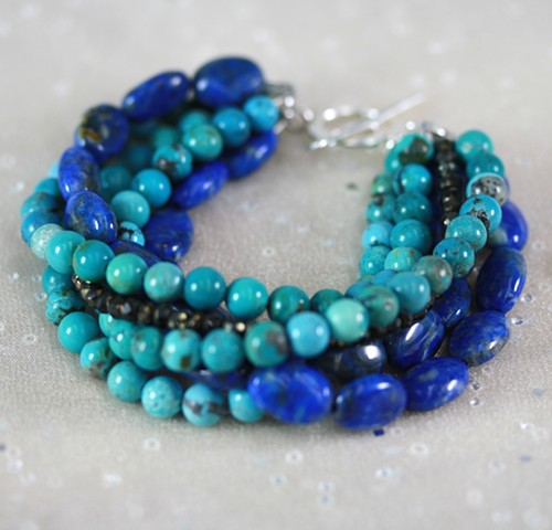 6-strand bracelet with turquoise, lapis, pyrite and silver